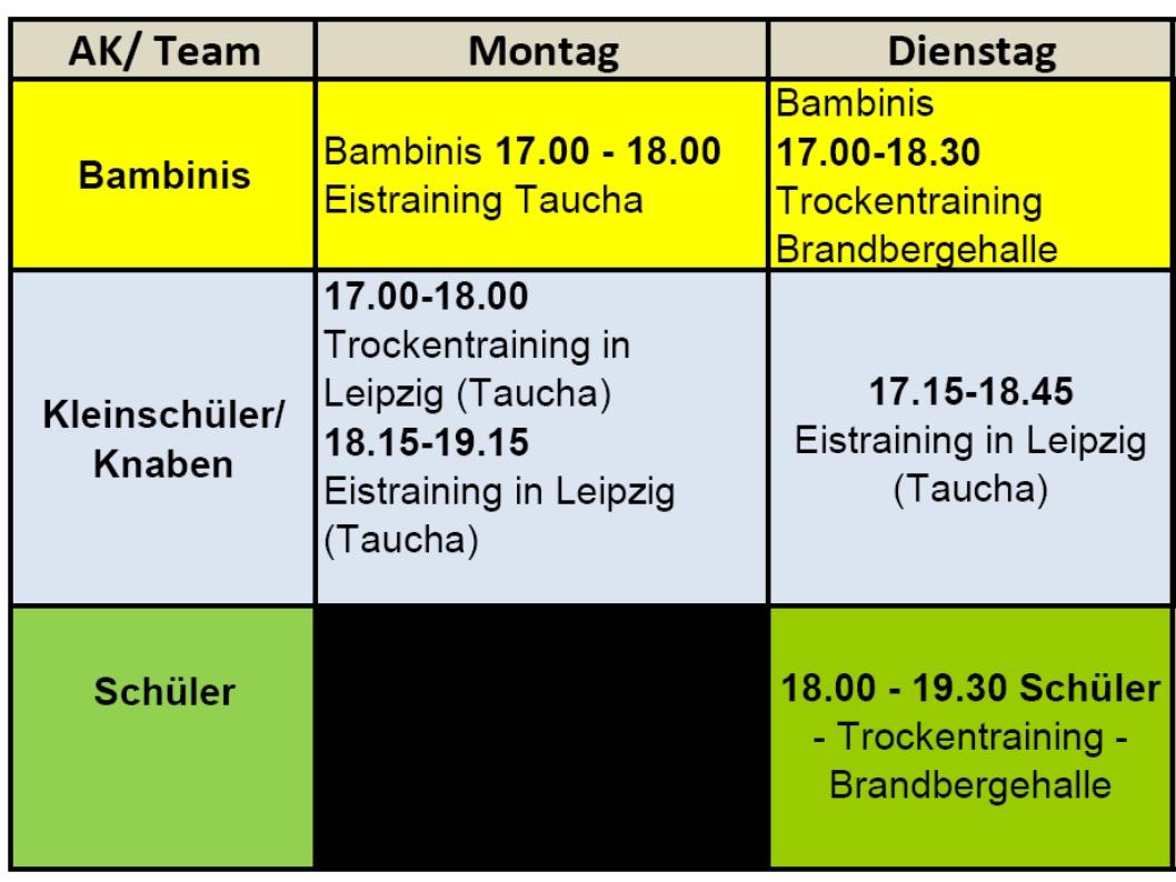 Besondere Trainingszeiten im September 2013